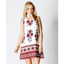 Floral Print Choker Shift Dress In Red
