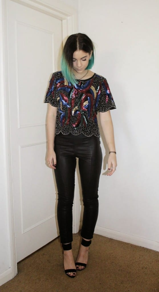 Miss Foxy Sequin Crop Top in Black and Multi - Sophie Hannah Richardson