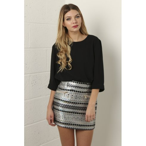 A-Line Aztec Print Mini Skirt with Holographic Detail