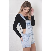 Acid Wash Denim Short Dungarees