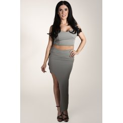Asymmetric Cross Back Co-ord in Khaki