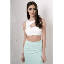 Asymmetric Cut Out Bralet in White