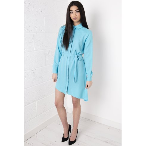 Asymmetric Long-Sleeved Blue Shirt Dress