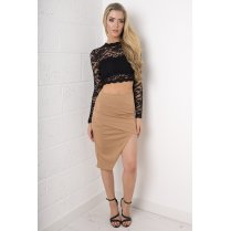 Asymmetric Mini Skirt in Camel