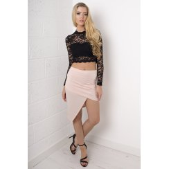 Asymmetric Mini Skirt in Nude