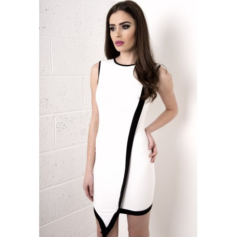Asymmetric Monochrome Crepe Dress in White