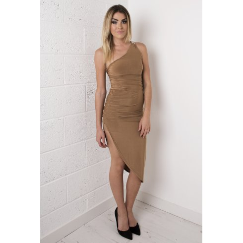 Asymmetric Split Dress in Camel