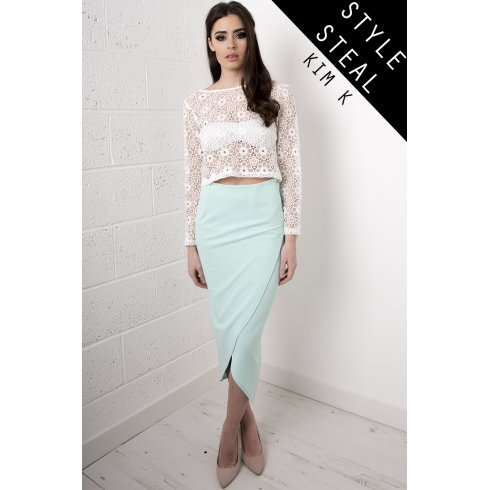 Wrap Over Midi Skirt in Mint Green