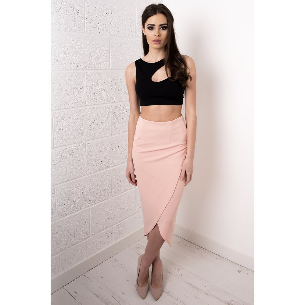 Wrap Over Midi Skirt in Pink