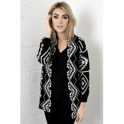 Aztec Knitted Cardigan in Black