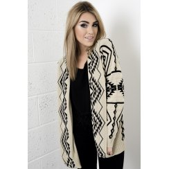 Aztec Knitted Cardigan in Cream