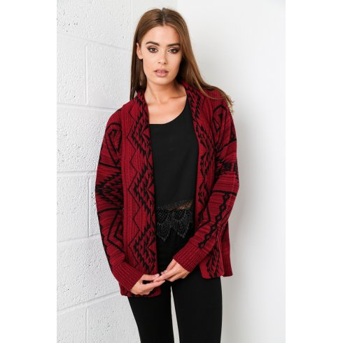 Aztec Knitted Cardigan in Maroon