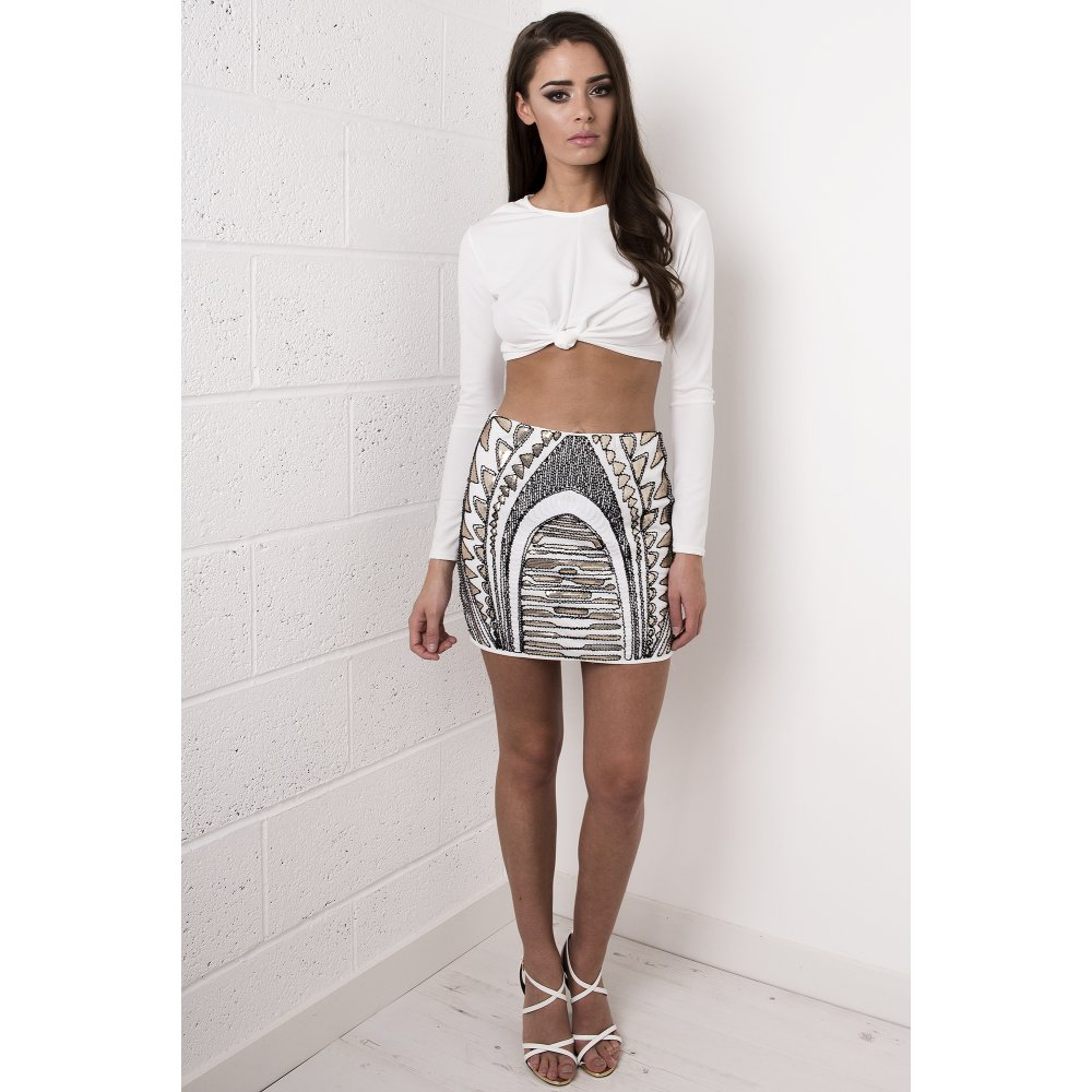 Sequin Skirt in Cream and Gold