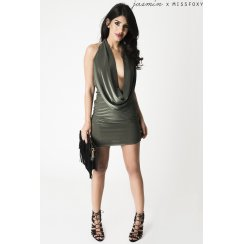 Backless Plunge Mini Dress in Khaki