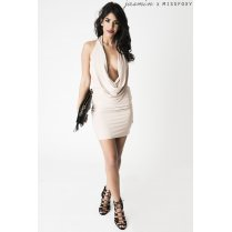 Backless Plunge Mini Dress in Nude