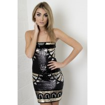 Bandeau Bodycon Art Deco Sequin Mini Dress