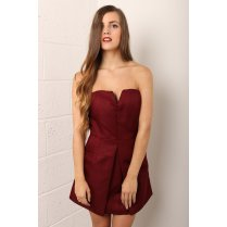 Bandeau Mini Dress with Pleated Detail in Maroon Red