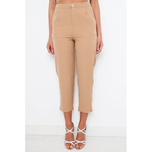 Beige Cigarette Trousers