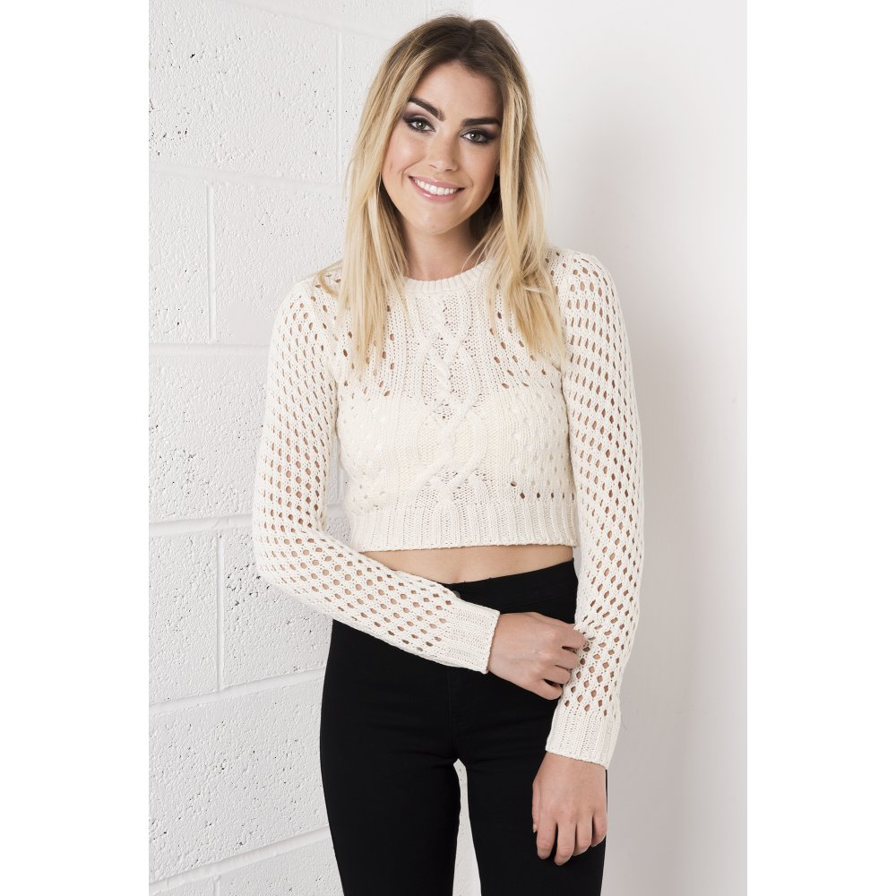 Knitting Pattern Cropped Jumper : Beige Cropped Knitted Jumper