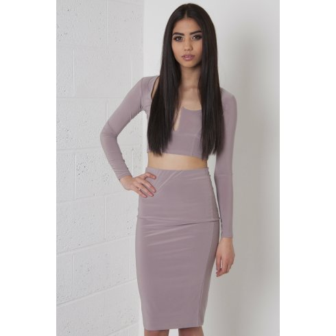 Beige V-Neck Co-Ord Set