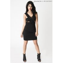 Black Cut Out Mini Dress with Tie Up Detail