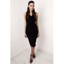Black Draped Cross Strapped Dress