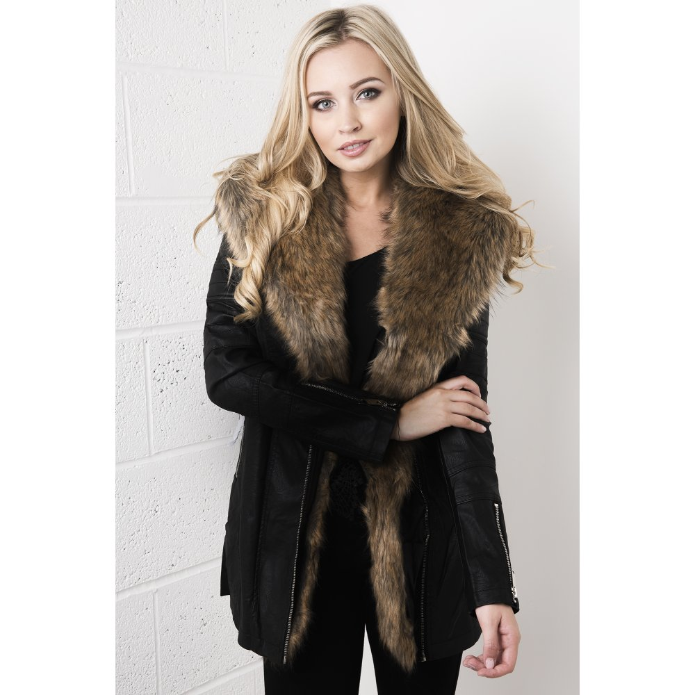 Black Leather Fur Coat - Hazard Golf Clothing