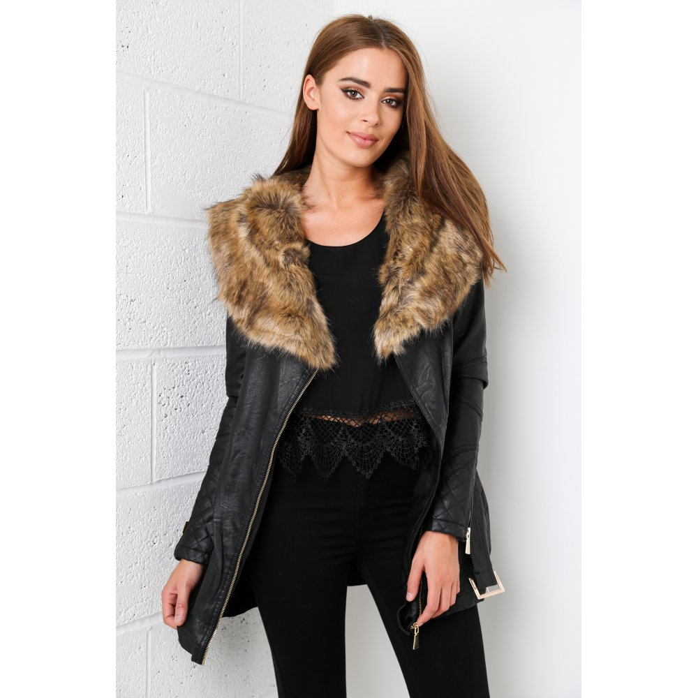 Black Faux Leather Fur Coat With Belt