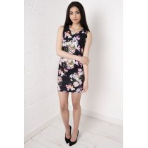 Black Floral Overlay Dress
