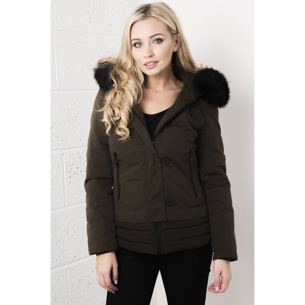 Womens black coat with fur trim – Modern fashion jacket photo blog
