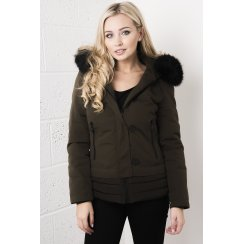 Black Fur Trim Coat in Khaki
