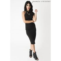 Black Halterneck Midi Dress