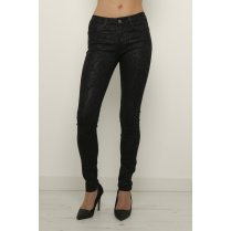 Black Leather Look Jeans with Paisley Print