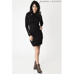 Black Long Sleeve Suede Eyelet Dress