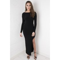 Black Open Back Maxi Dress