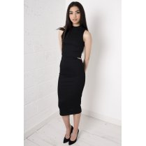 Black Overlay Polo Midi Dress