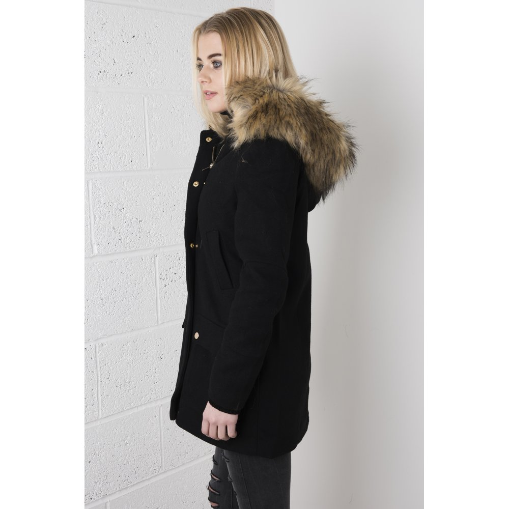 Parka Coat with Fur Hood