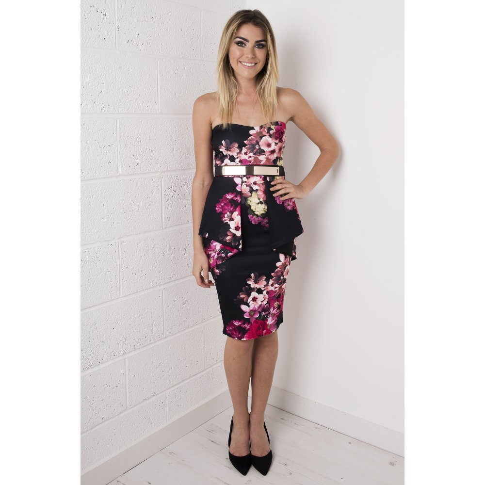 Peplum Strapless Floral Dress