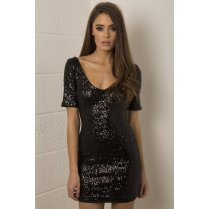Black Sequin Mini Dress with Low Neckline