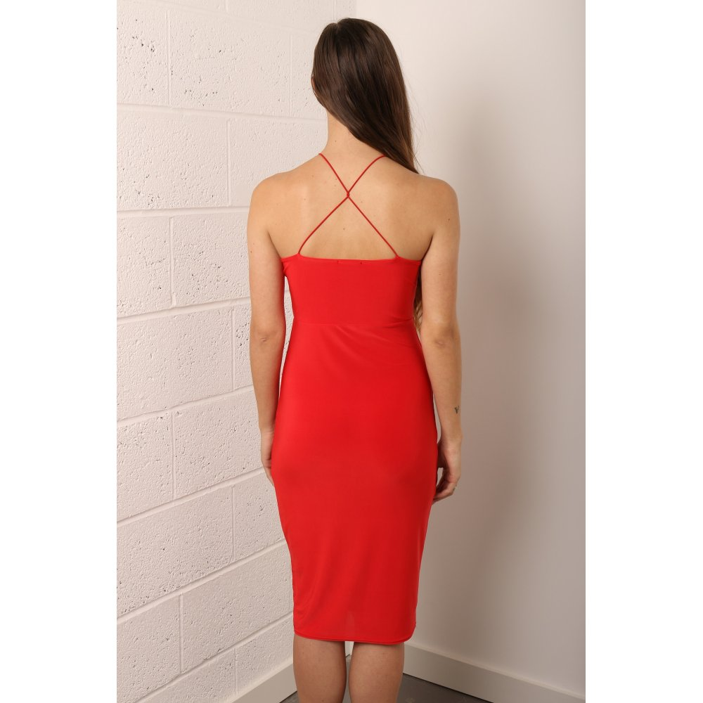 Modern dress jackets - Home Clothing Dresses Bodycon Cross Back Midi Dress In Red