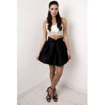 Bow Detail Mini Skirt in Black