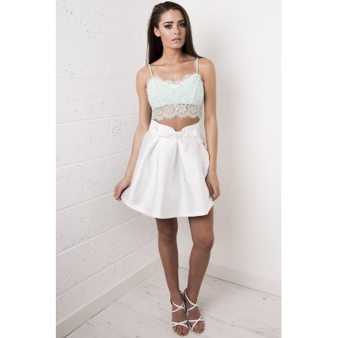 Bow Detail Mini Skirt in White