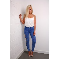Bow Detail Skinny Jeans in Blue
