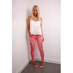 Bow Detail Skinny Jeans in Pink