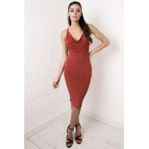 Burnt Orange Draped Cross Strapped Dress