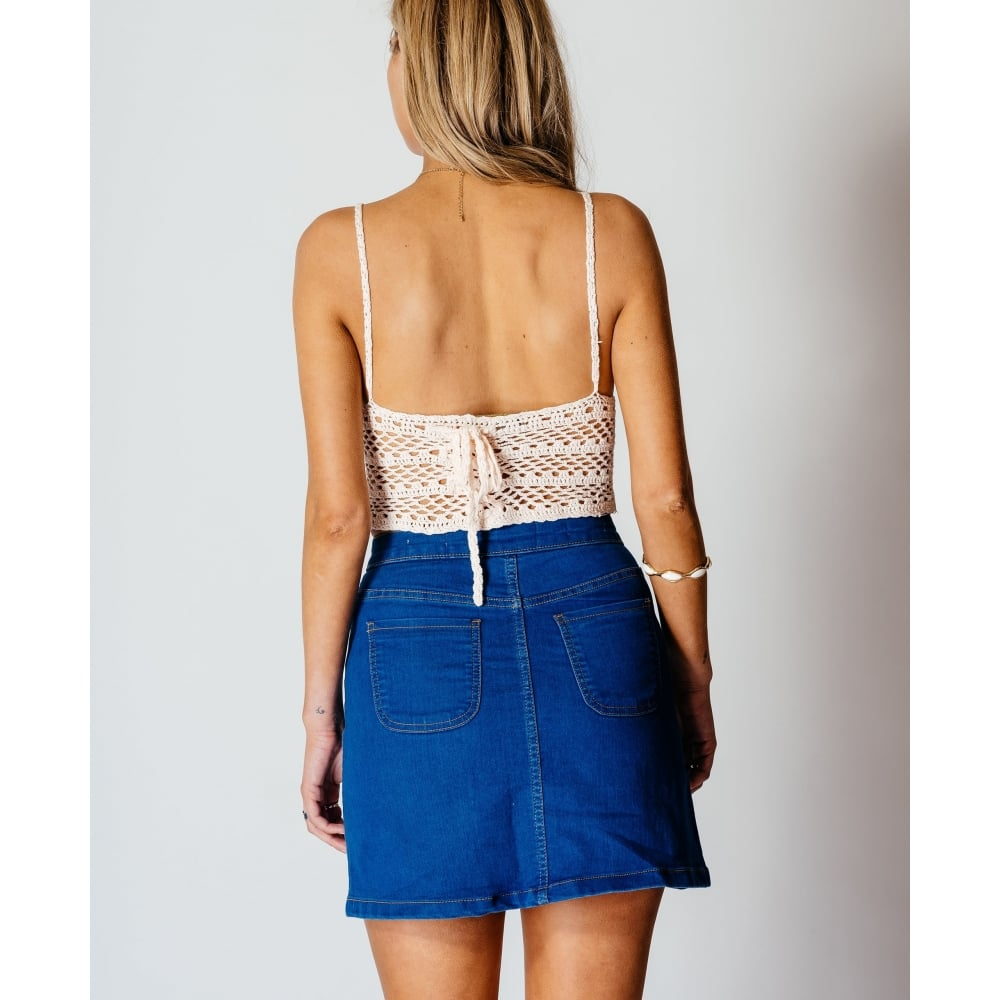 Front Mini Denim Skirt In Bright Blue