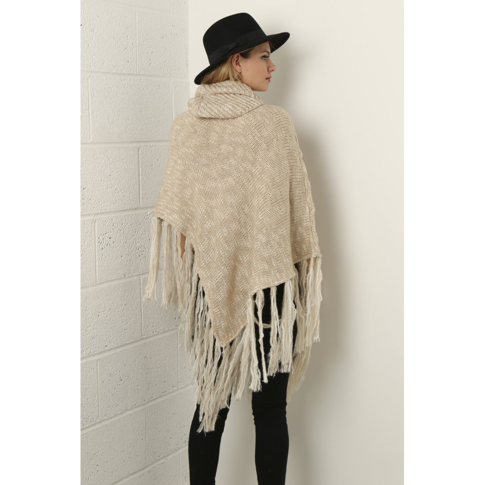 Cable Knit Shawl Pattern : Cable Knit Shawl in Beige Knitwear Miss Foxy
