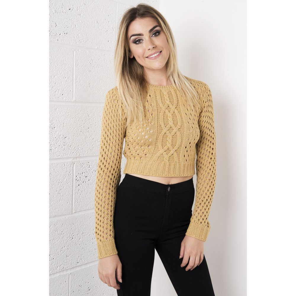 Cropped Jumper Knitting Pattern : Camel Cropped Knitted Jumper
