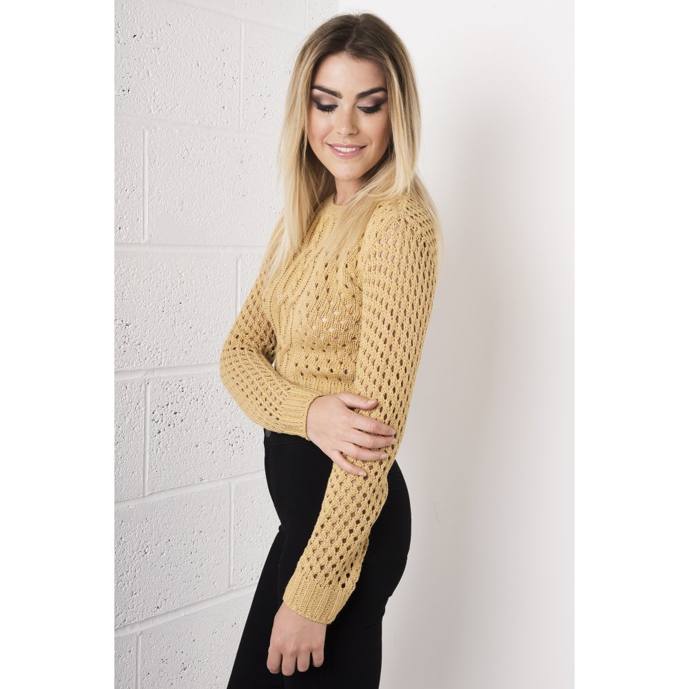 Knitting Pattern Cropped Jumper : Camel Cropped Knitted Jumper