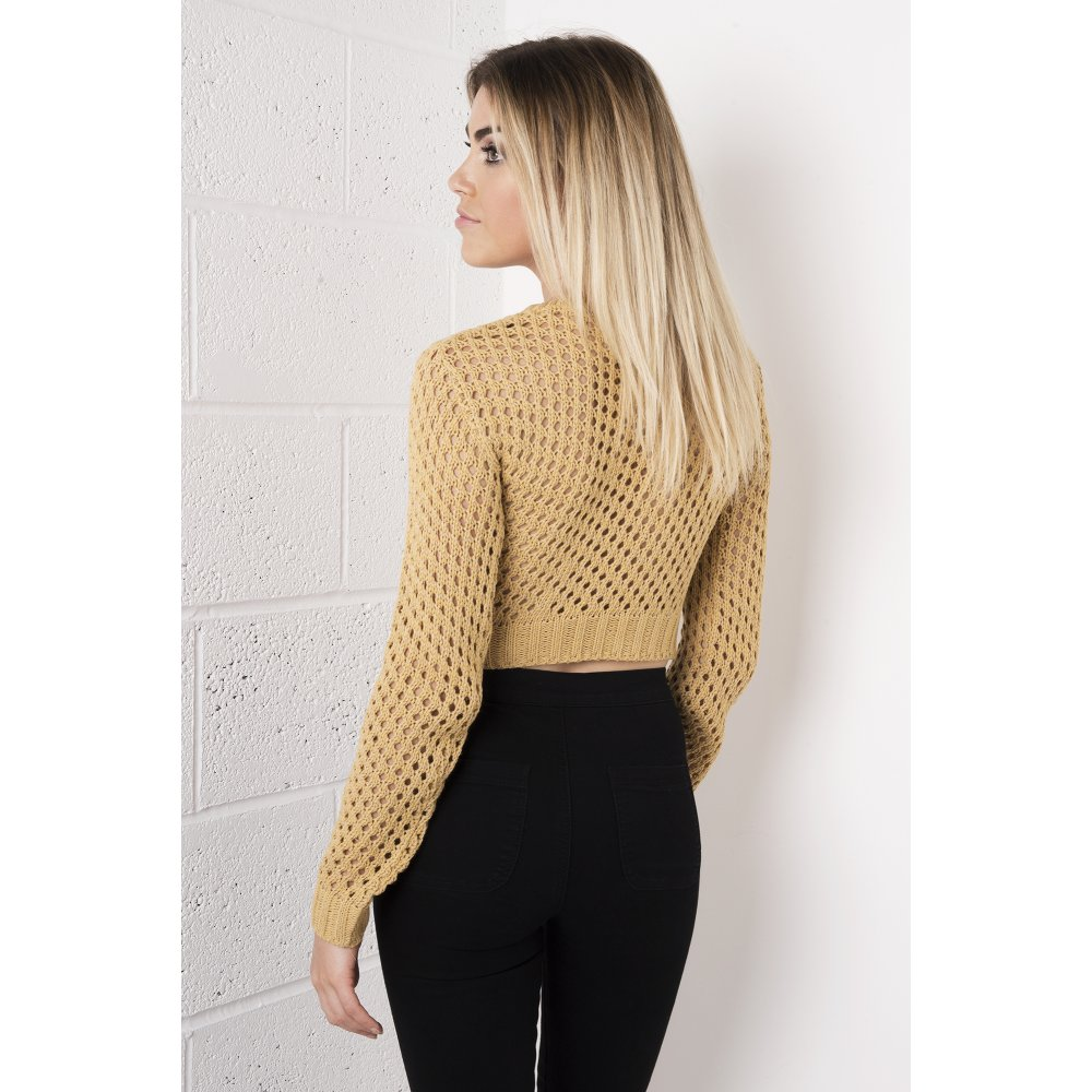 Camel Cropped Knitted Jumper